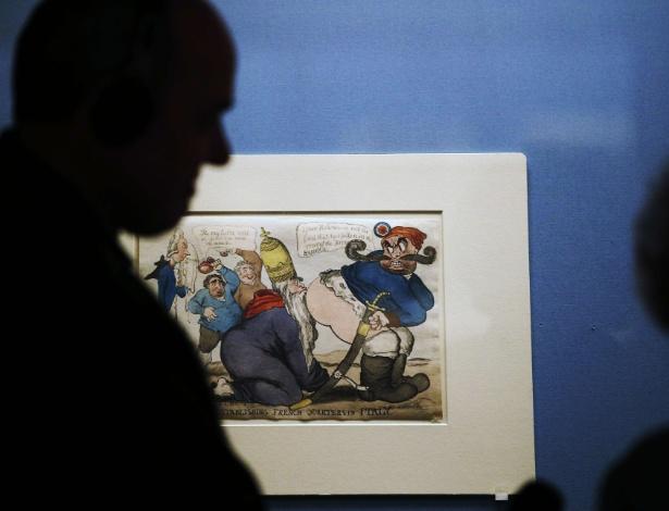 """Caricatura que faz parte da exposição """"Bonaparte e os britânicos"""" no Museu Britânico em Londros - ADRIAN DENNIS/AFP"""