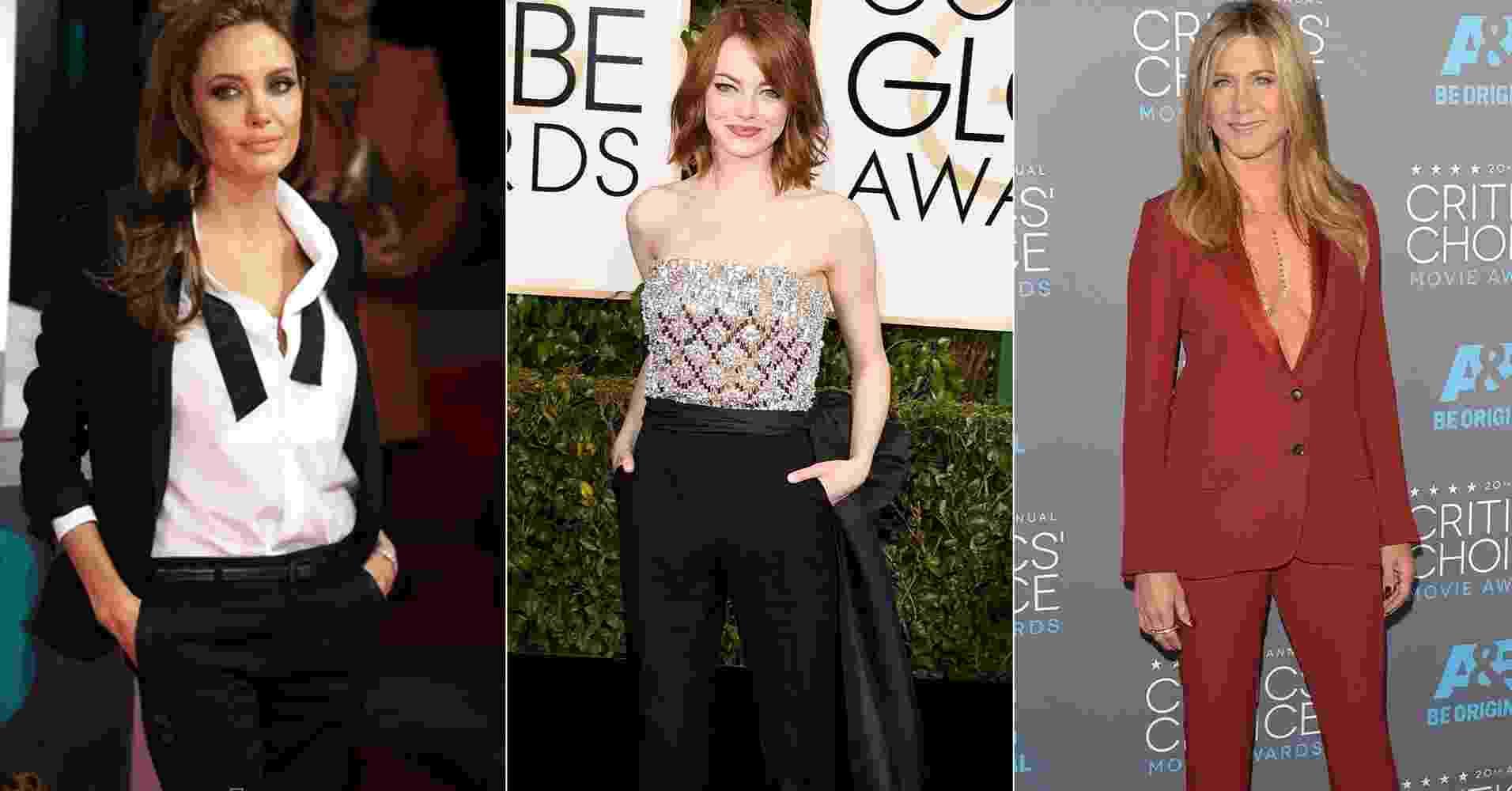 Angelina Jolie, Emma Watson e Jennifer Aniston - Getty Images/Fotomontagem/UOL