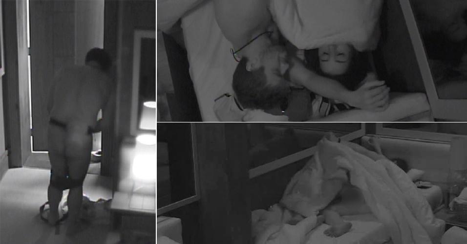 7.fev.2015 - Adrilles atrapalha por duas vezes no quarto e quebra clima de Rafael e Talita debaixo de edredom