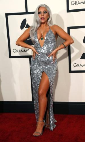 8.fev.2015 - A cantora Lady Gaga durante a 57ª edição do Grammy, em Los Angeles, nos Estados Unidos