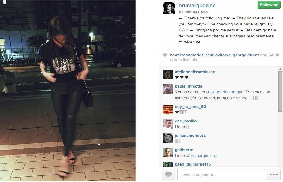 09.fev.2015 - Bruna Marquezine mandou um recado cheio de ironia para suas