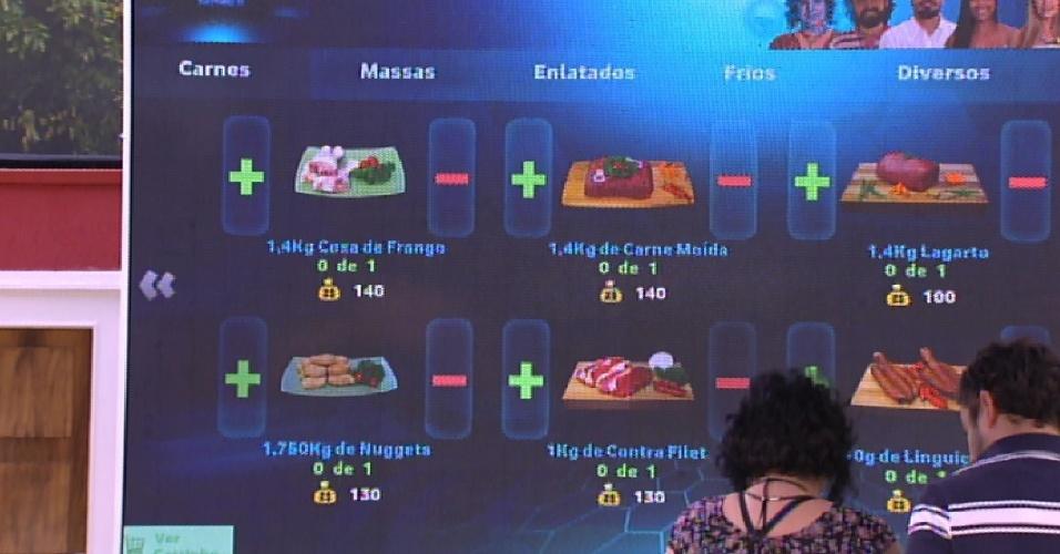9.fev.2015 - Mariza e Adrilles foram os sorteados para fazer as compras da semana pelo grupo Tá com Tudo, formado ainda por Aline, Fernando, Marco e a líder Amanda