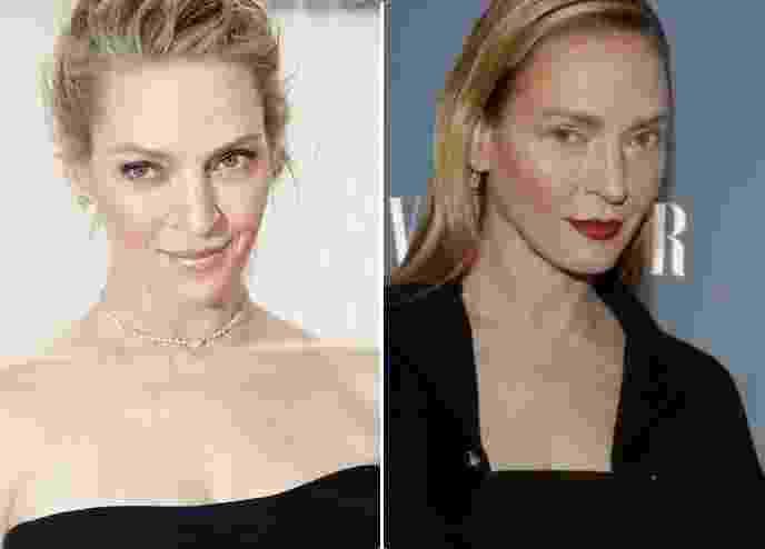 """A atriz Uma Thurman, 44 anos, surpreendeu ao aparecer no dia 9 de fevereiro com o rosto bem diferente na pré-estreia da série  """"The Slap"""" , em Nova York, nos Estados Unidos - AFP/AP Photo/Markus Schreiber"""