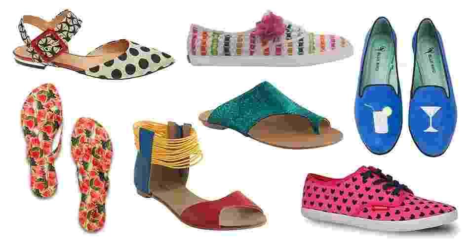 Para sambar e brincar no Carnaval, é preciso estar com sapatos confortáveis que permitam pular sem causar danos aos pés. Os modelos em cores fortes, com brilhos, estampas e recortes têm o toque divertido que as festas de rua exigem. A seguir, veja diferentes opções - Divulgação