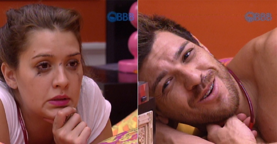 """13.fev.2015 - Cézar quebra a solidão de Tamires e fica conversando sobre a vida fora do """"BBB15"""" com a dentista"""