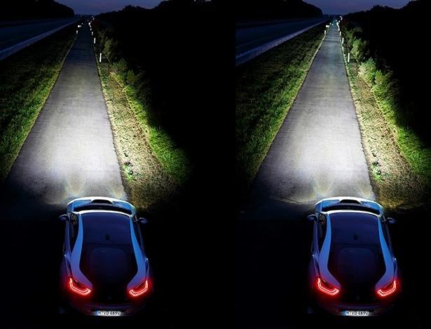 Farol a laser (à direira) é mais potente e menos gastão que o de LED - Divulgação