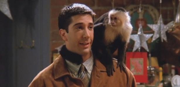 """Ross Geller (David Schwimmer) e seu macaquinho Marcel em cena de """"Friends"""" - Reprodução/Friends"""