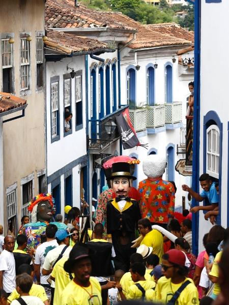 Foliões aproveitam o Carnaval nas ruas de Ouro Preto, em Minas Gerais, em 2015 - Marcus Desimoni/UOL