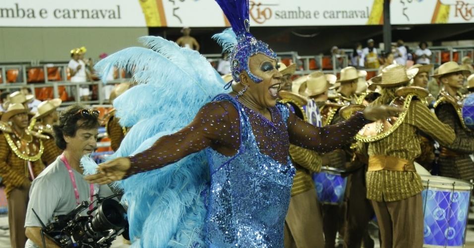 Fev.2015 - Xana Summer (Aílton Graça) brilha no desfile da União de Santa Teresa