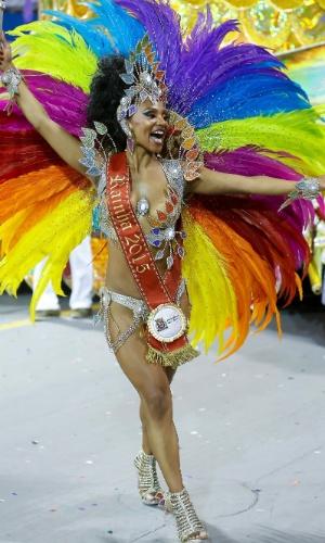 15.fev.2015 - Musa da Império de Casa Verde, Theba Pitylla é rainha do Carnaval de São Paulo 2015