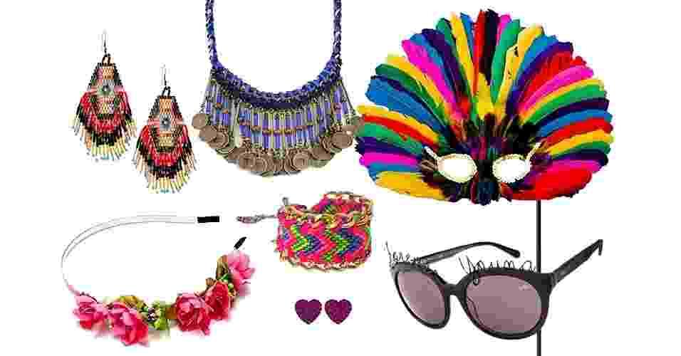 Os acessórios coloridos e divertidos levantam qualquer look e, em um piscar de olhos, podem te deixar pronta para pular o Carnaval. A seguir, veja opções para diferentes tipos de festa - Divulgação