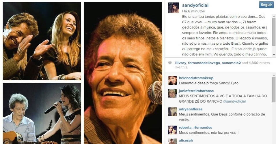 """16.fev.2015 - """"Quanto orgulho eu carrego no meu coração"""": Sandy homenageia o avô João Izidoro Pereira, conhecido como o cantor Zé do Rancho, que morreu neste último domingo (15), aos 87 anos"""