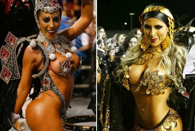 17.fev.2015 - Irmãs Minerato tiveram fantasias roubadas horas antes de desfile, mas conseguiram desfilar pela Gaviões da Fiel no sábado (14)