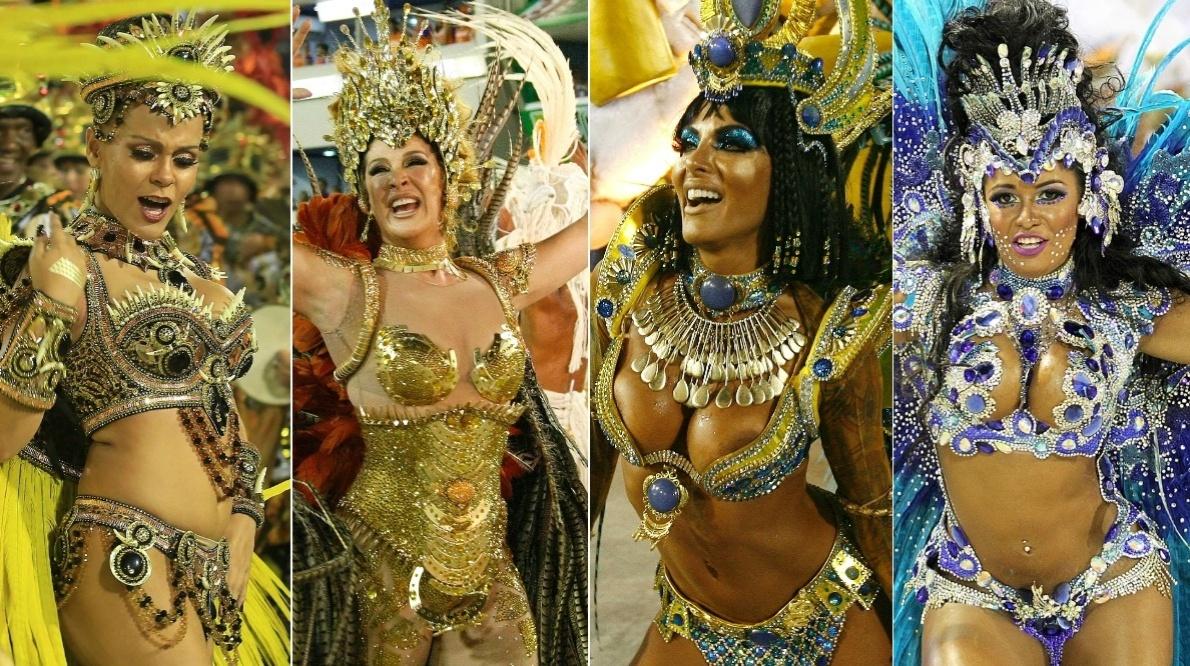 17.fev.2015 - Musas da segunda noite de desfiles na Sapucaí