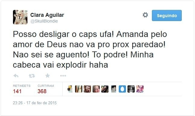 17.fev.2015 - Clara comemora vitória de Amanda no Twitter e pede para a amiga não ir para o próximo paredão