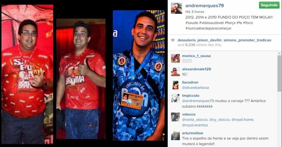 18.fev.2015 - André Marques mostra foto comparando peso de antes e atual e é criticado nas redes sociais