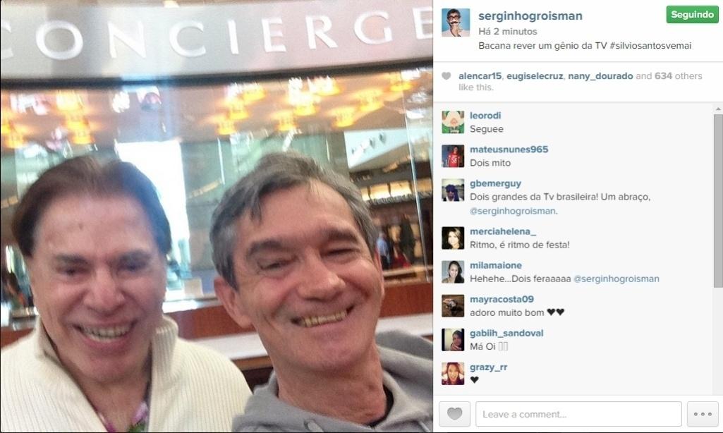 18;fev.2015 - Serginho Groisman registrou um encontro com seu ex-patrão, o dono do SBT Silvio Santos, na noite dessa quarta-feira. No instagram, o apresentador uma selfie dos dois juntos e comentou.