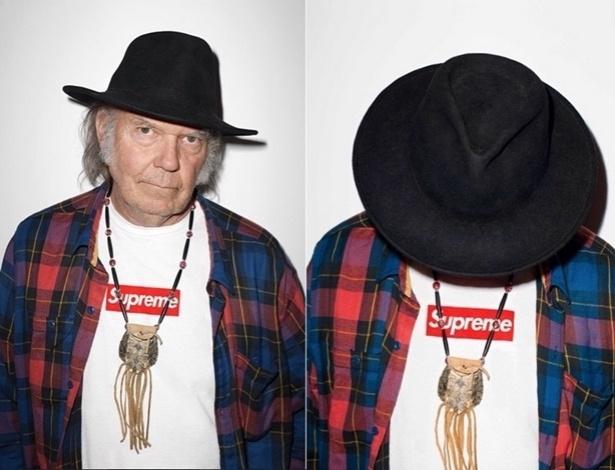 Neil Young é o rosto da nova campanha da marca de streetwear Supreme - Reprodução