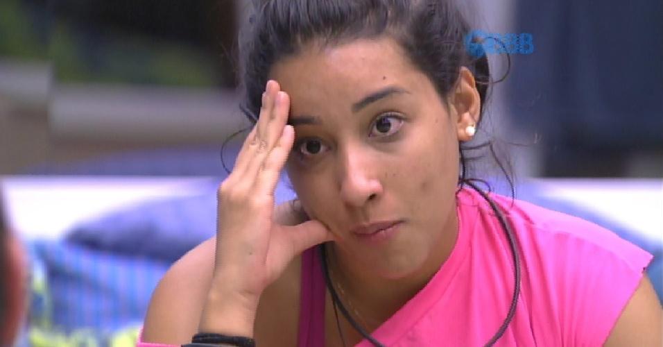 20.fev.2015 - Talita reclama que Pedro Bial não fala com ela e diz que está fazendo figuração no programa
