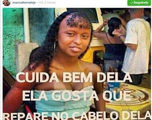 """Marcello publicou a foto de uma mulher negra com a frase: """"Cuida bem dela. Ela gosta que você repare no cabelo dela"""" e causou uma polêmica nas redes sociais"""