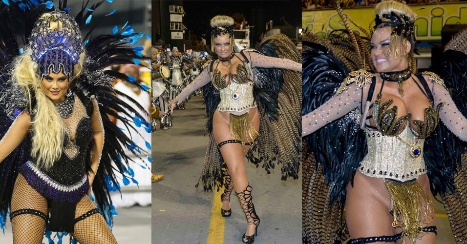 21.fev.2015 - Ellen Rocche usa fantasia mais ousada na Rosas de Ouro no desfile das campeãs de São Paulo