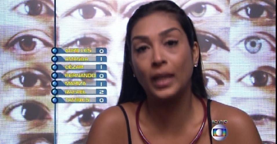 """22.fev.2015 - Amanda vota em Mariza no quinto paredão do """"BBB15"""""""