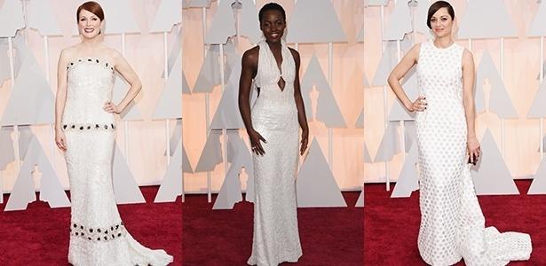 "Julianne Moore, Lupita Nyong""o e Marion Cotillard vestem longos brancos - Getty Images"