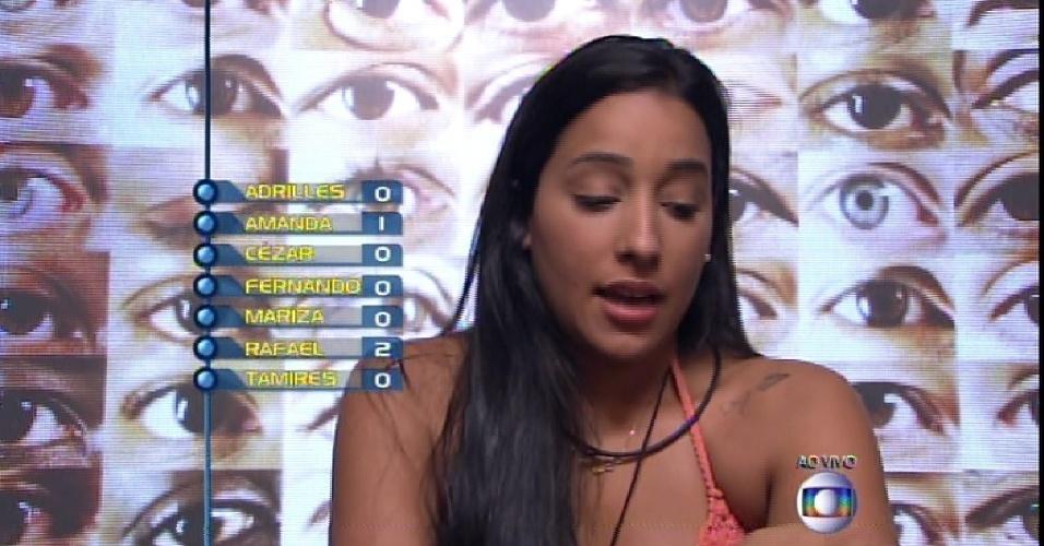 """22.fev.2015 -  Talita vota em Mariza no quinto paredão do """"BBB15"""""""