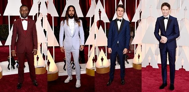 David Oyelowo, Jared Leto, Ansel Elgort e Eddie Redmayne deixaram o smoking preto em casa e investiram em looks coloridos para ir à 87ª premiação do Oscar - Getty Images
