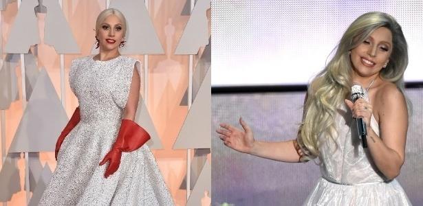 Lady Gaga em dois momentos: em modelo duvidoso no tapete vermelho e cantando