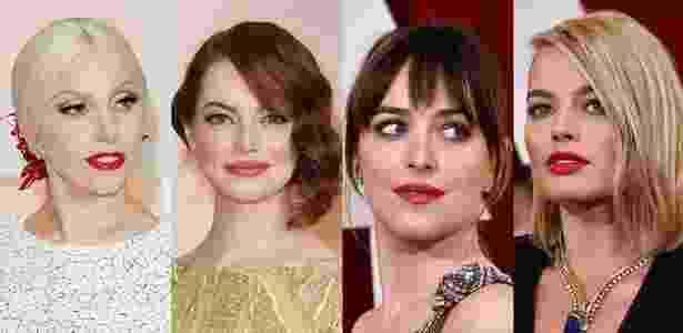 Lady Gaga, Emma Stone, Dakota Johnson e Margot Robbie investe no batom vermelho para o Oscar 2015 - Getty Images