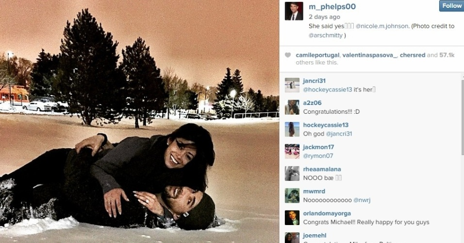24.fev.2015 - Michael Phelps anuncia noivado com ex-miss Califórnia, Nichole Johnson
