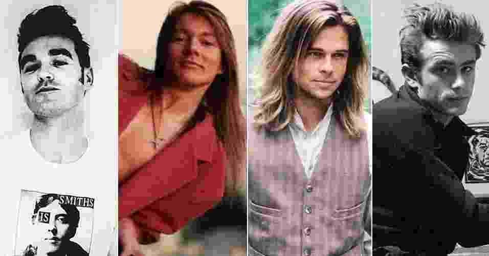 Cabelos masculinos icônicos - Morrissey, }Axl Rose, Brad Pitt e James Dean - Reprodução/Divulgação