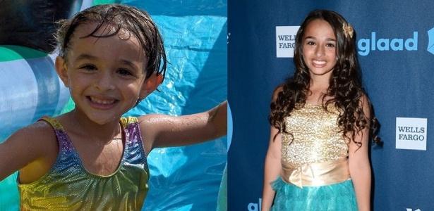 À esquerda, Jazz, no ínicio de sua transição, aos cinco anos. À direita, aos 14 anos - Reprodução/Instagram