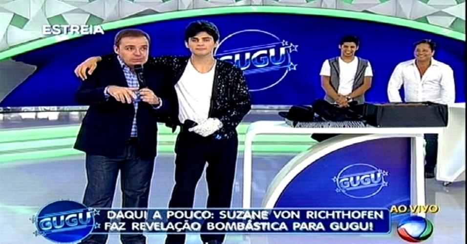 25.02.2015 - Lucas Veloso, filho de Shaolin, foi um dos convidados de Gugu na estreia de seu novo programa