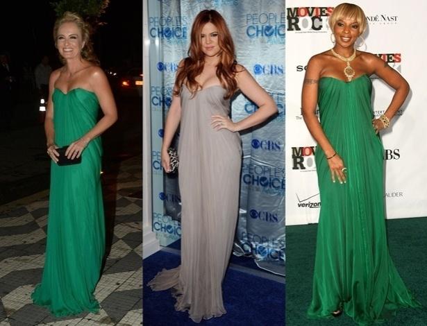Modelo Alexander McQueen usado por Angélica já apareceu no corpo de outras famosas, como Khloe Kardashian (centro) e a cantora Mary J. Blidge (direita) - Getty Images