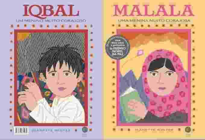 """Título: """"Malala, Uma Menina Muito Corajosa/ Iqbal, Um Menino Muito Corajoso"""". Autora: Jeanette Winter. Tradução: Silvia Rezende. Editora: Verus. Páginas: 40. Preço: R$ 23 - Reprodução"""