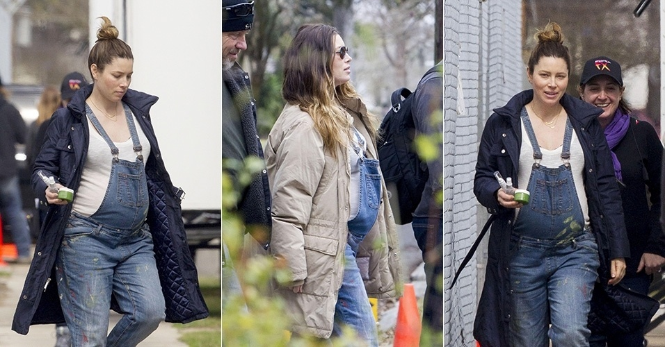 25.fev.2015 - Jessica Biel exibe barrigão de grávida durante gravações em Nova Orleans, nos Estados Unidos. A atriz, que espera o primeiro filho dela e do marido Justin Timberlake, está atuando em um novo filme,