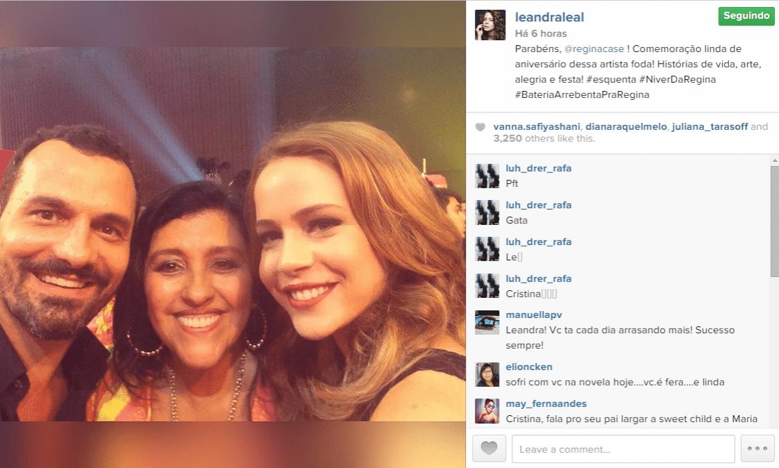 25.fev.2015 - Leandra Leal lembra do aniversário de Regina Casé e parabeniza a apresentadora em um post no Instagram, nesta quarta-feira