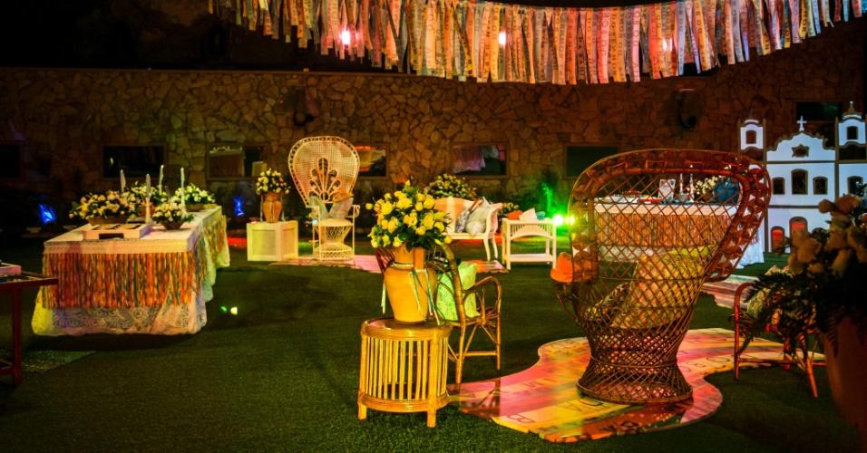 """25.fev.2015 - Decoração da festa Pezinho na Bahia, no """"BBB15"""""""