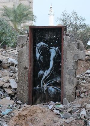 Obra do artista Banksy, em Gaza - Divulgação/Banksy
