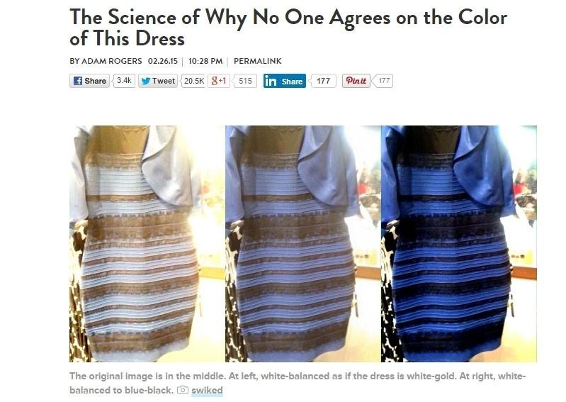 27.fev.2015 - A revista Wired foi mais didática. O vestido do meio é o verdadeiro. O da esquerda se assemelha ao que o time do branco e dourado enxerga. O da direita valoriza os tons de azul e preto