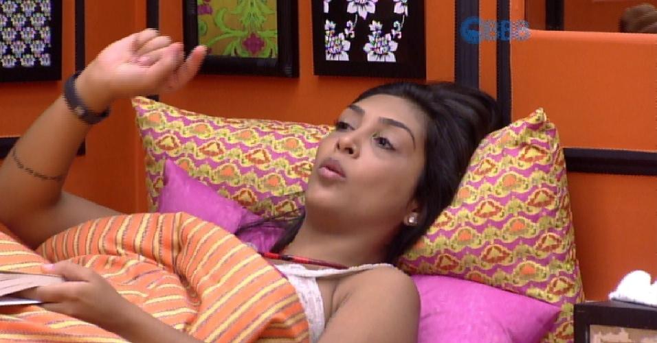 27.fev.2015 - Em conversa com brothers, Amanda diz que ama fazer sexo de manhã e Fernando pede para eles mudarem de assunto