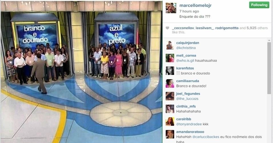 """27.fev.2015 - Marcello Melo Jr. pediu ajuda à plateia do """"Programa Silvio Santos"""" para definir a cor do vestido. Se ninguém acertar, quem ganha é a carta"""