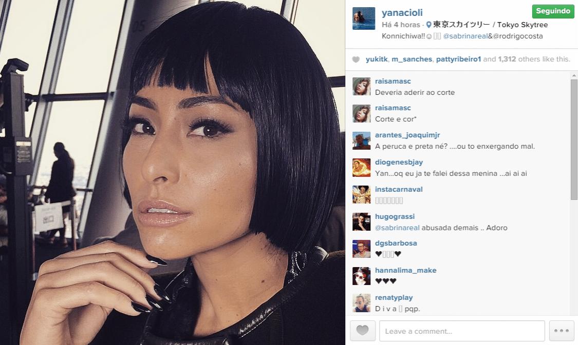 27.fev.2015 - Sabrina Sato aparece com o cabelo chanel em uma foto do amigo e personal stylist Yan Acioli em uma viagem a Tóquio, no Japão, nesta sexta-feira