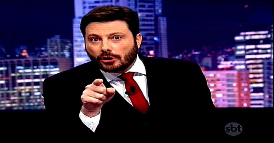 """2.mar.2015 - Danilo Gentili estreia a segunda temporada de seu programa no SBT, o """"The Noite"""", na noite desta segunda-feira, sem novidades no cenário"""