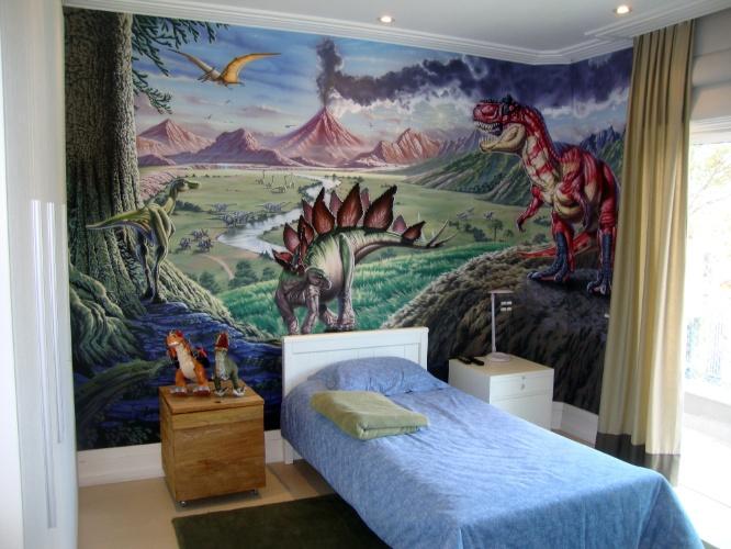 álbum com grafites para o quarto adolescente   Para um menino fã de dinossauros, Fernando Pow (www.fernandopow.com) fez um desenho usando aerografia (técnica de pintura em que se usa compressor de ar ou lata de spray)