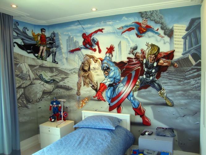 álbum com grafites para o quarto adolescente | As paredes deste quarto foram pintadas por Fernando Pow (www.fernandopow.com), que utiliza a aerografia (técnica de pintura em que se usa compressor de ar ou lata de spray) para imprimir mais realismo a seus trabalhos