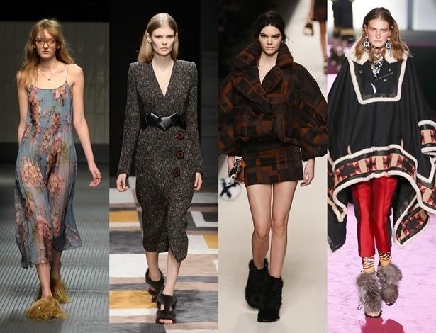Além dos casacos, a pele apareceu nos sapatos durante a Semana de Moda de Milão - Getty Images