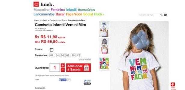 Grife de Luciano Huck havia colocado à venda camiseta infantil imprópria